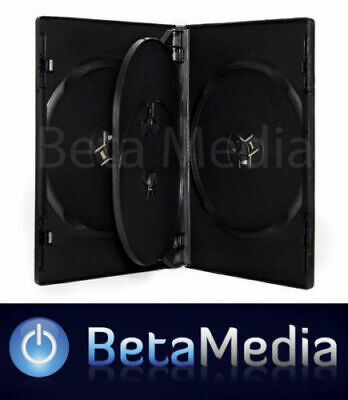5 x Quad Black 14mm Quality CD / DVD Cover Case - HOLDS 4 Discs