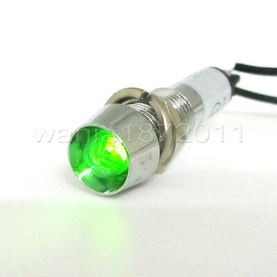 5 × Green Neon 8mm AC220V Panel Indicator Power Signal Light Metal Shell XD8-1