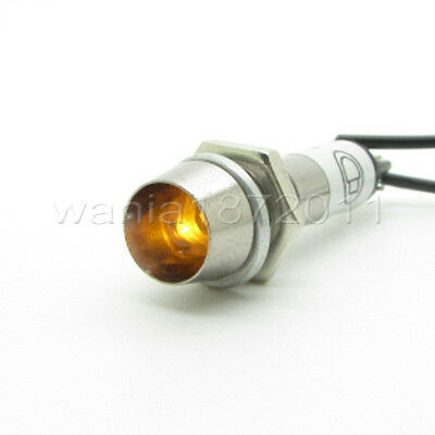 5 × Yellow LED 8mm DC24V Panel Indicator Power Signal Light Metal Shell XD8-1