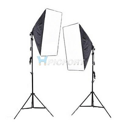 Continuous Lighting Kit E27 Bulb Lamp Softbox Light Stand for Photo Video Studio