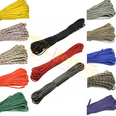 100ft 7 Strand Core Cord 550 Paracord Parachute Rope Lanyard Mil Spec TYPE III