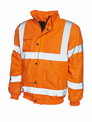 Contractor Hi Viz High Vis Visibility Bomber Work Jacket Coat Yellow or Orange