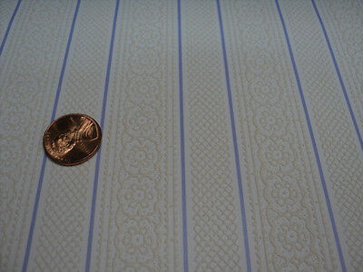 Dollhouse Wallpaper/ Cream With Blue Stripe/ Embossed