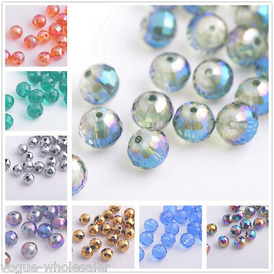 (30) Beautiful Colorful Round Ball Glass Crystal 96Faceted Loose Spacer Bead 8mm