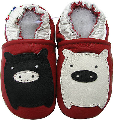carozoo black white piggy red 2-3y soft sole leather toddler shoes slippers