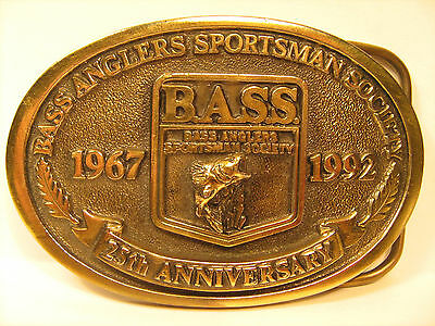 BRASS Belt Buckle BASS ANGLERS 25TH Anniversary 1967-1992 [Y95g]