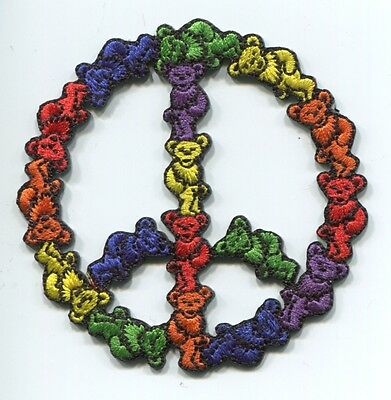 GRATEFUL DEAD bears peace sign EMBROIDERED PATCH *FREE SHIPPING* c p3975