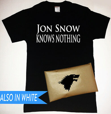 Game of Thrones Jon Snow Knows Nothing T-Shirt with Stark Sigil Packaging