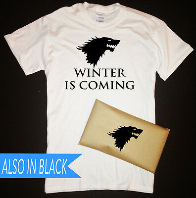 Game of Thrones Winter Is Coming T-Shirt with House Stark Sigil Packaging