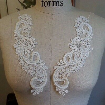 """9"""" Embroidered MIRROR IMAGE Applique Set (2 pc) - LIGHT IVORY"""