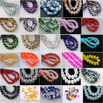 50pcs Glass Crystal Faceted Diy Loose Finding Spacer Beads 4x6mm 110 Color In