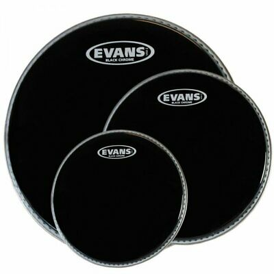 "Evans Black Chrome 10"",12"",14"" Tom Drum Head FUSION Pack ETP-CHR-F"