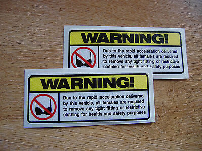 2x Funny Warning Sticker - car / bike / quad decal 100mm