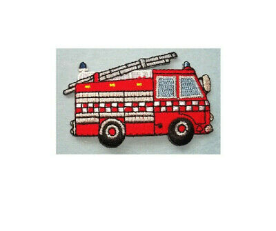Iron On Embroidered Applique Patch Rescue Fire Engine Truck Face Firemans Hat
