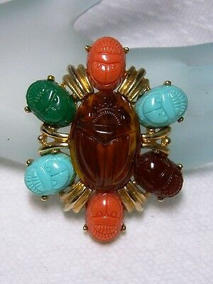 "Egyptian Revival Gold Tone  Molded Resin SCARAB BEETLE Pendant Brooch 2"" x 1.5"""