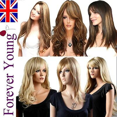 Wigs Ladies Long Fashion Full Wig Blonde Black Brown Wig Wavy Forever Young Wig