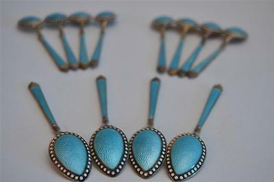 12 FANCY TURQUOISE STERLING SILVER ENAMELED CAVIAR SPOONS MARKED