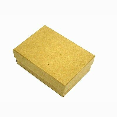 """100  Kraft Cotton Filled Jewelry Gift Boxes 3 1/4 X 2 1/4"""""""