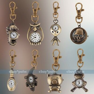 Vintage Bronze Tone Key Ring Pocket Quartz Pendant Kids Unisex Watch Xmas Gift