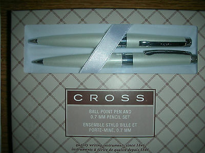 Cross Cardinal Pearlescent White Ballpoint Pen and 0.7m Pencil Set  AT0191A-6