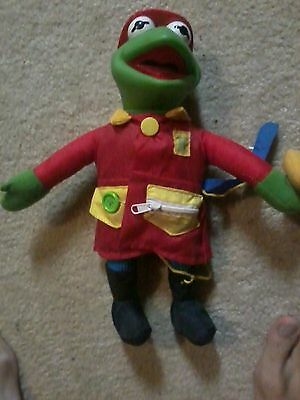 """Vintage Kermit the Frog 14"""" Fireman Doll 20 years old cool rare wow muppets!!"""