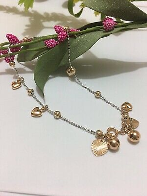 "9K 9ct Yellow & white ""Gold FILLED"" Heart & Bell ANKLE CHAIN ANKLET  10.6"" ,Gift"