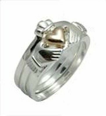 Amazing 3 Piece Irish Silver & 14ct Rose GOLD CLADDAGH Heart Ring Size Select