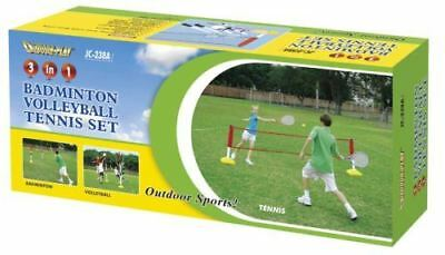 Kids 3 Games In 1 Volleyball Tennis And Badminton Childrens Garden Game Set