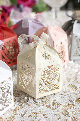 """2""""x2""""x2"""" Heart Laser Cut Gift Candy Favor Boxes Wedding Anniversary Party Craft"""