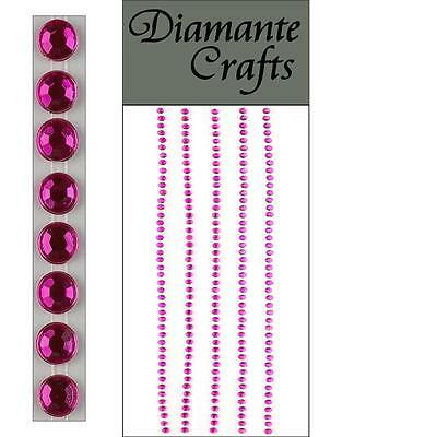 220 x 2mm Hot Pink Diamante Self Adhesive Strips Rows Rhinestone Body Nail Gems