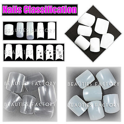 White Clear Natural Acrylic French False Toe Nail Art Tips Pedicure 500 pcs #44C