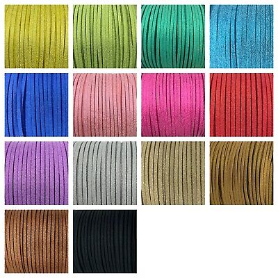 Faux Suede Flat Leather Metallic Glittered Cord Lace String 23yd bundle 3mm