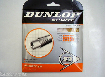 1 Set Dunlop Synthetic Gut Tennis Racquet String Gold Colour 1.3Mm 12.2Mtrs