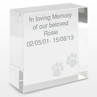 Personalised Dog Pet Cat Memorial Remembrance Keepsake Crystal Token Gift Idea