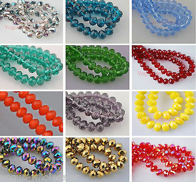 (72)Glass Crystal Faceted Diy Loose Finding Spacer Rondelle Beads 8x12mm 60Color