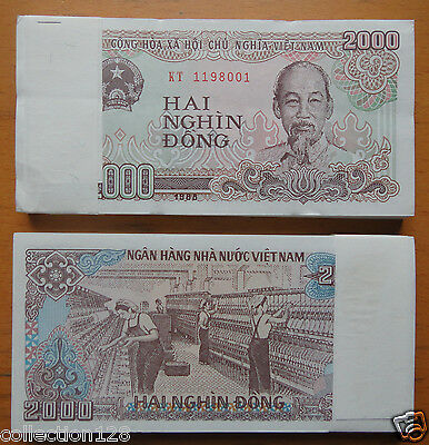 Bundle of 100 Pieces Vietnam Paper Money 2000 Dong 1988 UNC