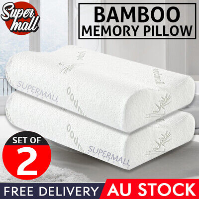 2x Luxury Bamboo Pillow with Anti Bacterial Memory Foam Fabric Cover 50 X 30CM