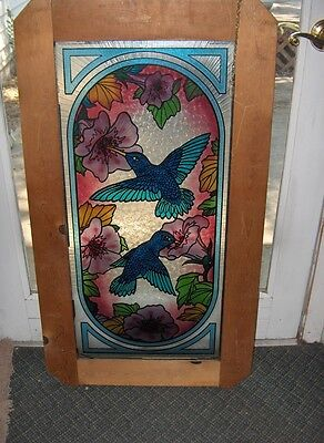 Vintage Large Painted Art Glass Hummingbirds Window Hanging Stained Glass