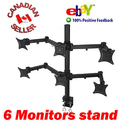 "HEX SIX DESK MOUNT STAND FOR 6 LCD LED FLAT MONITORS VESA 75/100 FIT 13"" to 24"""