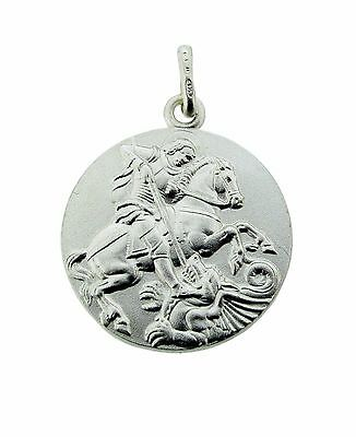 925 Sterling Silver Double Sided St George Medallion Pendant Chain Option In Box