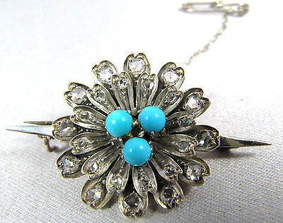 Antique 9ct gold & silver turquoise & 24 rose cut diamonds flower brooch