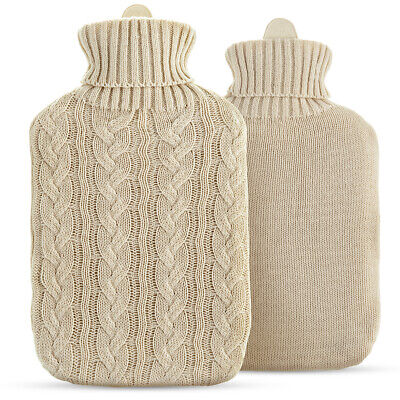 2L Large Hot Water Bottle Quality Hot Water Bottles W/ Arran Knitted Cover Warm