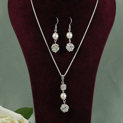 Pretty Bridal Set Sterling Silver  Pearls & Diamante Beads Various Colours