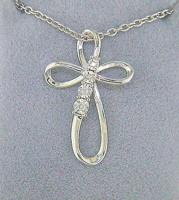 Diamond accent infinity cross pendant with chain sterling silver diamond accent infinity cross pendant with chain sterling silver aloadofball Images