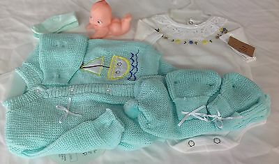 Lt. Green Crochet New born Baby set sail boat pants sweater booties hat socks
