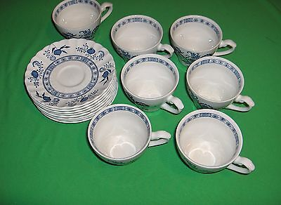 Vintage 7 Cup Sets J.& G Meakin China Blue Nordic Blue Onion England