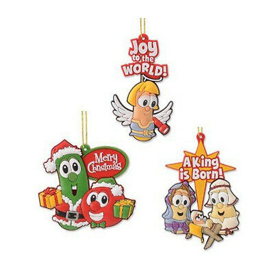 Gregg Gift Co. Veggie Tales Christmas Ornament 3 pc Set Rubber Holiday Ornaments