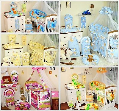 EXCLUSIVE 11 Piece Baby Nursery Bedding Set To Fit Cot / Cot Bed / 40 disigns