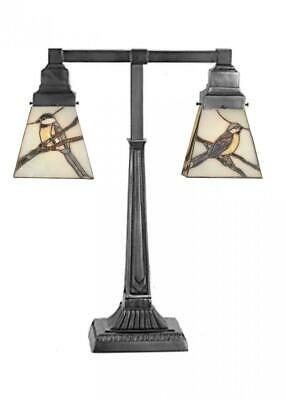 Meyda Tiffany Stained Glass Sparrow Morning Bird 2-Light Table Desk Lamp