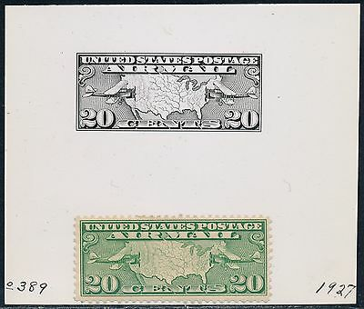 "#c9 20¢ ""us Map & 2 Mail Planes"" B.e.p. Photo Die Proof From Archives Bq7434"